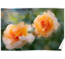 Peach Roses In Digital Acrylic Poster