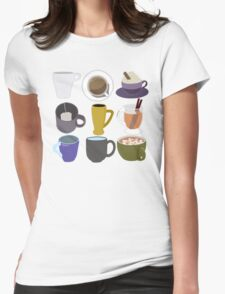 Coffee and Tea, Mugs 3 by 3- Request Womens Fitted T-Shirt
