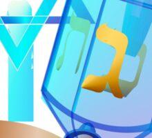 Blue Glass Dreidel-Happy Hanukkah Sticker