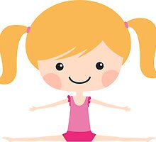Cute girl gymnast doing the splits - blond by MheaDesign