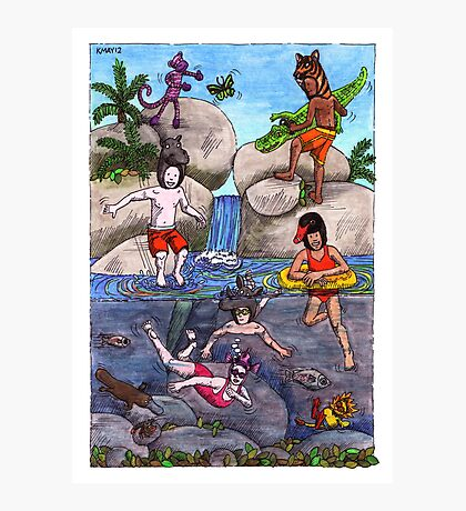 KMAY Hoodkids River Swimming Photographic Print