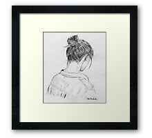 Young Woman Portrait from Behind - Artistic Sketch Framed Print