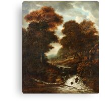 JACOB VAN RUISDAEL CIRCLE OF, LANDSCAPE WITH FIGURES AND WATERFALL. Canvas Print