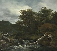 Jacob Isaacksz. van Ruisdael  WATERFALL IN A HILLY WOODED LANDSCAPE 2 by Adam Asar