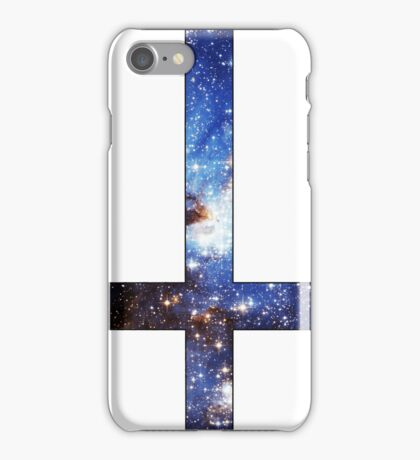 Blue Galaxy Inverted Cross White iPhone Case/Skin