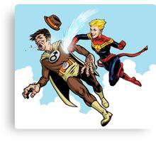 Captain Marvel defeats the Groper Canvas Print