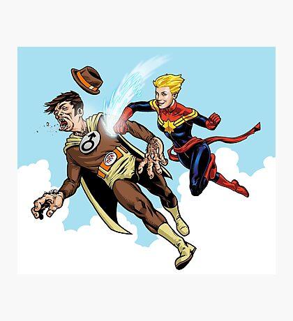 Captain Marvel defeats the Groper Photographic Print