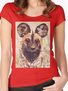 Afrika Wildehond (Lycaon pictus) Women's Fitted Scoop T-Shirt