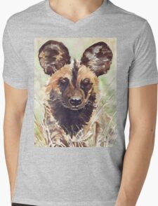 Afrika Wildehond (Lycaon pictus) Mens V-Neck T-Shirt