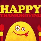 Hungry Cartoon Character Funny Thanksgiving by Boriana Giormova