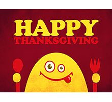 Hungry Cartoon Character Funny Thanksgiving Photographic Print