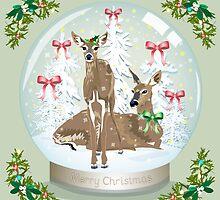 Snow globe deer by Dawn  Dudek