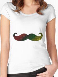 Rasta Bob Marley Mustache Women's Fitted Scoop T-Shirt