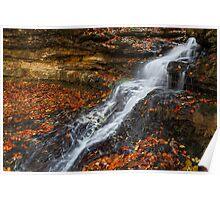 Cascading Autumn Waterfall Poster