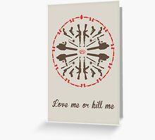 Mandala psycho killer red brown Greeting Card
