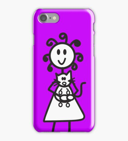 official curly hair large girl cat phone case - purple iPhone Case/Skin