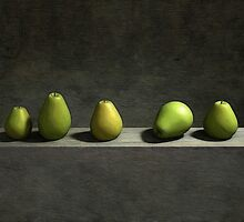 Five pears by Cynthia Decker
