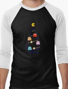 Arcade Retro Christmas Tree of Old Skool Gaming Men's Baseball ¾ T-Shirt