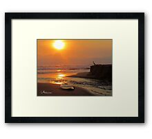 Sunset with Egret and surfboard Framed Print