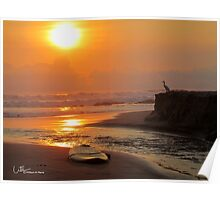 Sunset with Egret and surfboard Poster