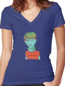 green cat on blue head Women's Fitted V-Neck T-Shirt