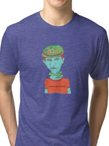 green cat on blue head Tri-blend T-Shirt