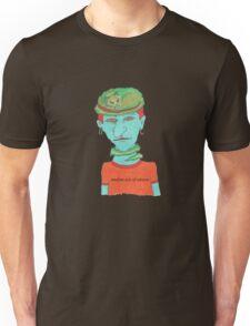 green cat on blue head Unisex T-Shirt