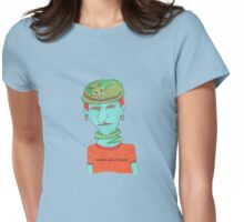 green cat on blue head Womens Fitted T-Shirt