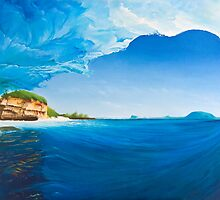 Island Escapades - Surf art painting by ecosurfart