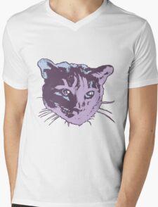 Cool Cat Head Graphic ~ cranberry Mens V-Neck T-Shirt