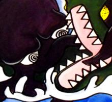 The Greedy Octopus vs The Crocodile Sticker