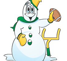 Football Snowman Cartoon by Graphxpro