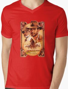Indiana Jones and The Last Crusade Movie Poster Mens V-Neck T-Shirt