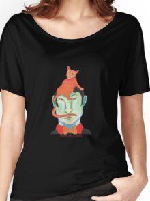 orange cat on green head Women's Relaxed Fit T-Shirt