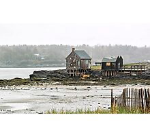 Misty Morning Shacks Photographic Print