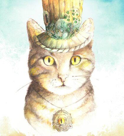 watercolor steampunk cat  Sticker