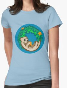 Otter Holiday Wreath Womens Fitted T-Shirt