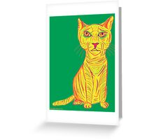Annoyed and Grumpy Yellow Cat Greeting Card