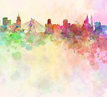 Sao Paulo skyline in watercolor background by Pablo Romero