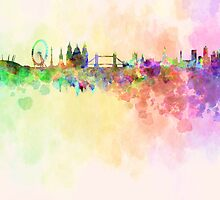 London skyline in watercolor background by Pablo Romero