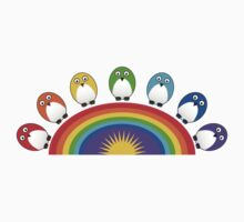 Little Cute Rainbow Birds One Piece - Short Sleeve