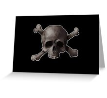 Jolly Roger Skull and Cross Bones Painting Greeting Card