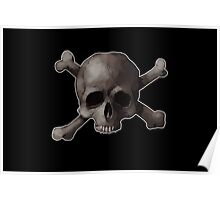 Jolly Roger Skull and Cross Bones Painting Poster
