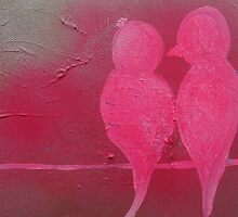 Pink Love Birds by LittleNestArt