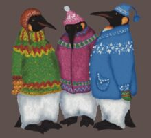 Penguins in Hand Knitted Sweaters Kids Clothes