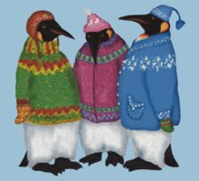 Penguins in Hand Knitted Sweaters by Kim  Harris