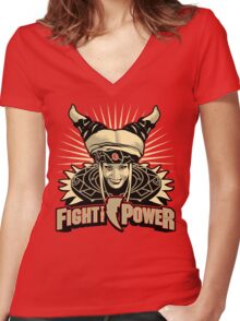 Fight the Power! Women's Fitted V-Neck T-Shirt