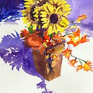 Sunflower Arrangement in Yellow and Violet by COusley622