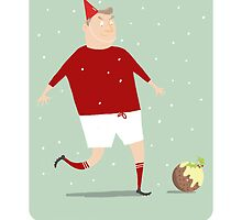 FOOTBALL HAPPY CHRISTMAS, RED & WHITE by Jane Newland