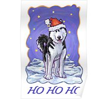 Husky Christmas Card Poster